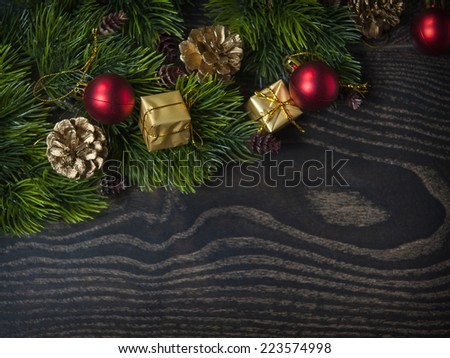 Spruce branches on a wooden background  - stock photo