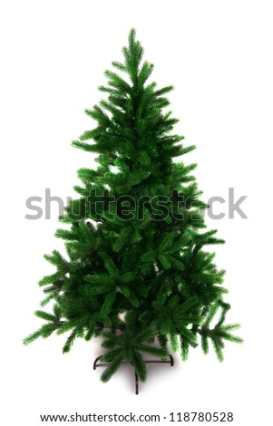 Spruce tree for christmas without decoration, isolated, over white.