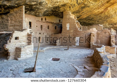 Spruce Tree House Anasazi Indian Ruins, Mesa Verde National Park, Colorado - stock photo