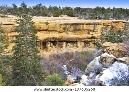 Spruce Tree House in Mesa Verde National Park, Colorado in Winter - stock photo