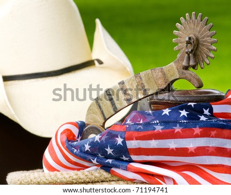 Spur, saddle horn, cowboy hat, rope and patriotic material with green grass in the background outside on a sunny day - stock photo