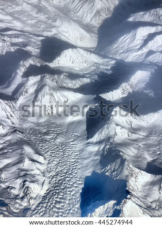 Spurs of Himalayas (before Himalayas) in middle of spring 1. View from height of bird flight