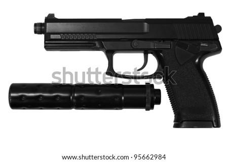 spy handgun with silencer on white background - stock photo