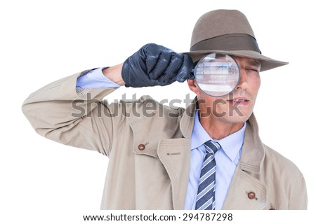 Spy looking through magnifier on white background - stock photo
