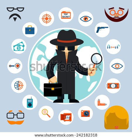 Spy with accessories icons. Spy in the black coat and hat with a magnifying glass and briefcase - stock photo