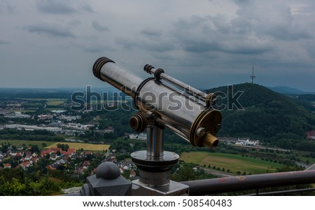 Spyglass on the viewing platform against a sky