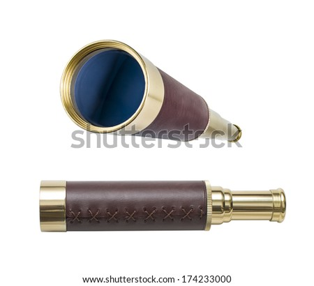 Spyglass or telescope isolated on white. All in focus. Clipping path is included. - stock photo