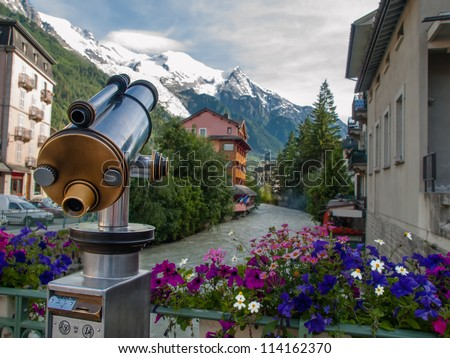 Spyglass pointing on mountains in Chamonix, France - stock photo