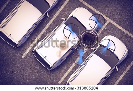 Spying Drone Over Parked Cars 3D Illustration. Remotely Operated Quadcopter Vehicle.  - stock photo