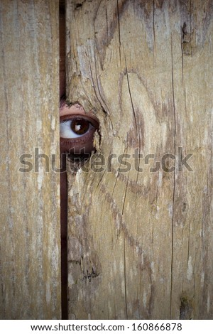 Spying through a hole in the wooden fence - stock photo