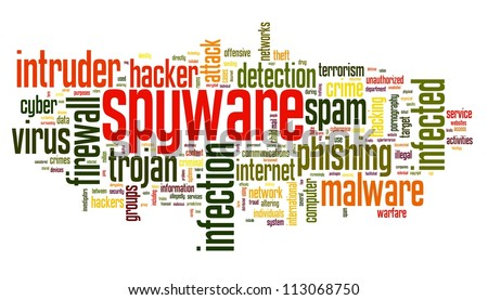 Spyware concept in word tag cloud on white background - stock photo