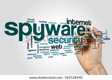 Spyware word cloud - stock photo