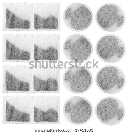 Square and circular tea bag design over white background. - stock photo