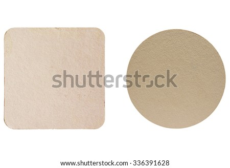 Square and round blank cardboard beermat for a pint of beer isolated over white background - stock photo