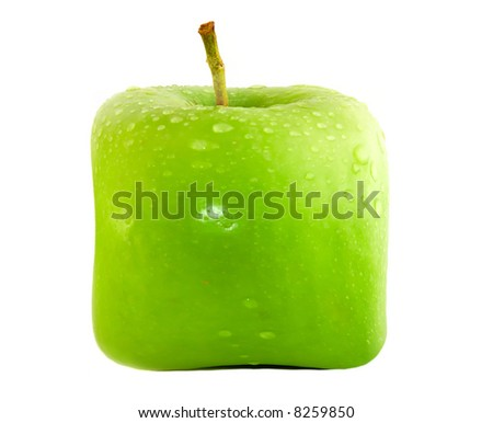 Square apple on a white background.