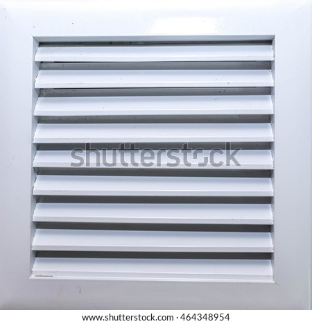 Square bathroom exhaust ventilation fan on white background, isolated with clipping path. Plastic with shine, silver like finishing
