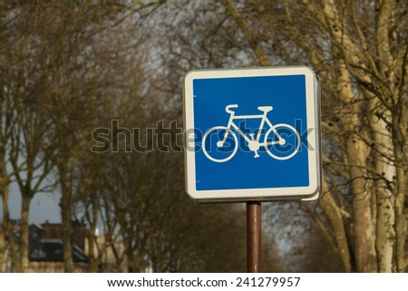 Square bicycle path sign in Versailles in France