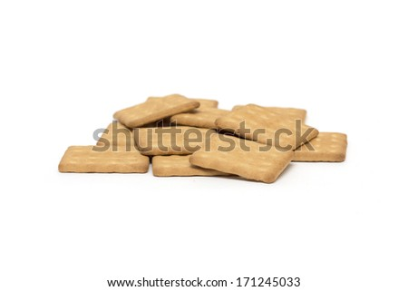 Square biscuits. Background. Photo.