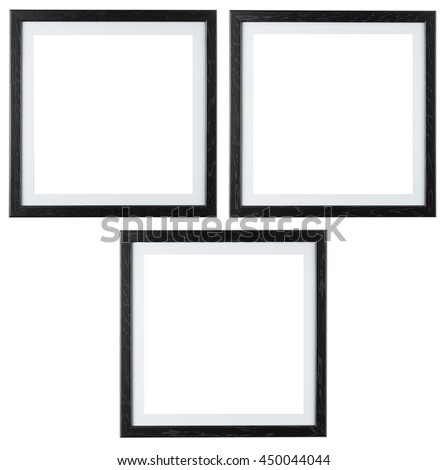 Square black picture frames isolated on white background. Include clipping path.