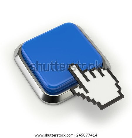 Square blue button with cursor on white background
