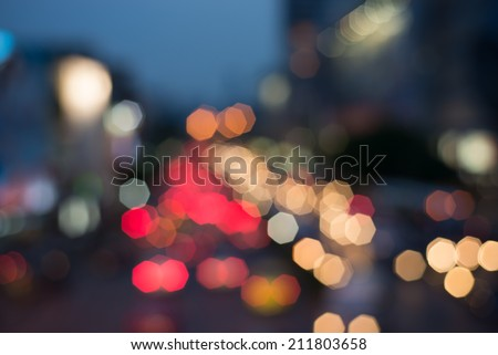 Square Bokeh from car light on the traffic road - stock photo