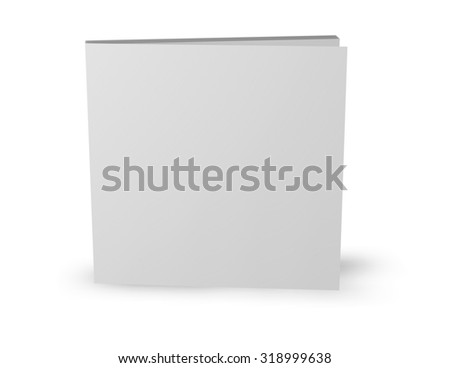 Square booklet with blank cover standing isolated on white. - stock photo