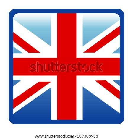 Square British Flags Isolate on White Background - stock photo