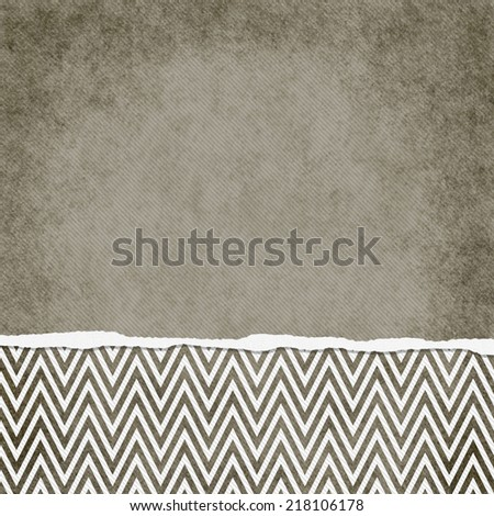 Square Brown and White Zigzag Chevron Torn Grunge Textured Background with copy space at top - stock photo
