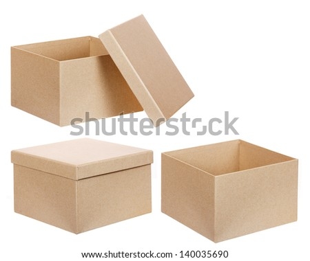 Square brown solid cardboard box isolated on white background