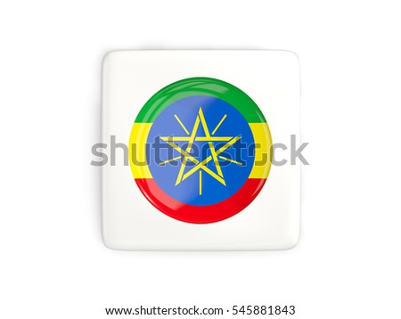 Square button with round flag of ethiopia isolated on white. 3D illustration