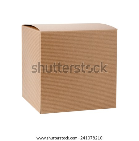 Square Cardboard Gift Box isolated on white. It includes a clipping path. The image is in full focus, front to back. - stock photo