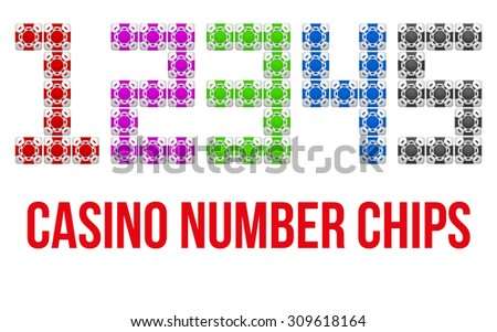 Square casino chip icons in the form of numbers. Bright symbols of gambling. Illustration isolated on white background.