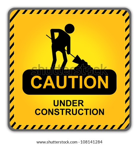 Square Caution Under Construction Sign With Workman Icon  Isolate on White Background - stock photo