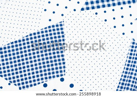 Square check tablecloth pattern with small and big polka dots. Blue and white asymmetric square and dots design as background on fabric. - stock photo