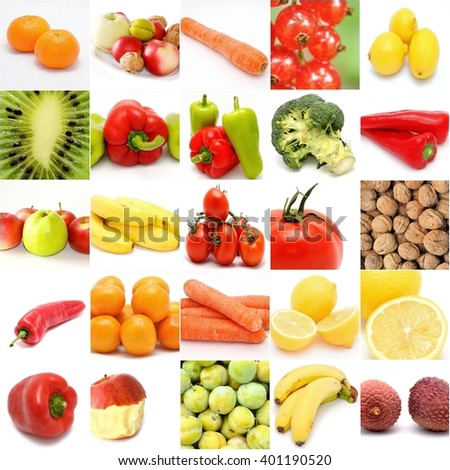 Square collage with fruit and vegetable on white background.