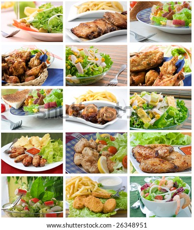 Square composition with assortment types of salad - stock photo
