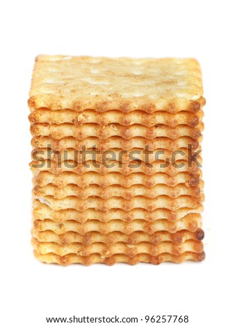 Square cookies isolated on white background