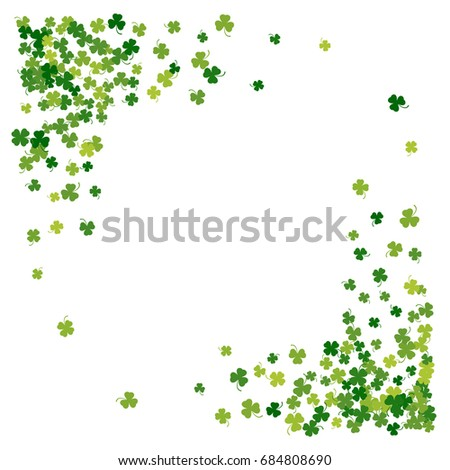 Square Corner Green Frame Border Or Background Of Random Scatter Clover Leaves With Tails