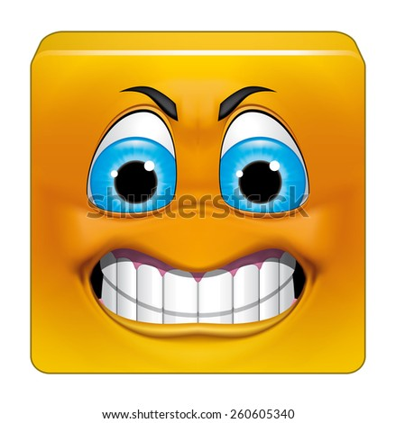 Square emoticon angry - stock photo