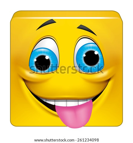 Square emoticon crazy - stock photo