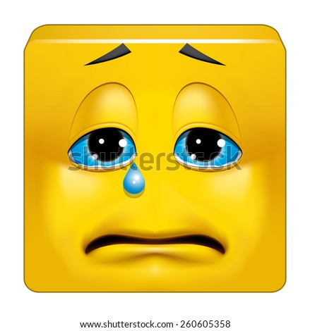 Square emoticon crying - stock photo