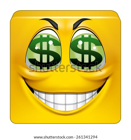 Square emoticon greedy - stock photo