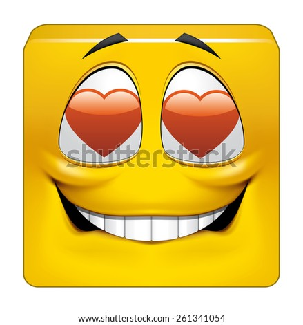 Square emoticon in love - stock photo
