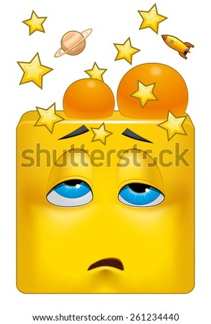 Square emoticon knocked out by a hit to the head - stock photo
