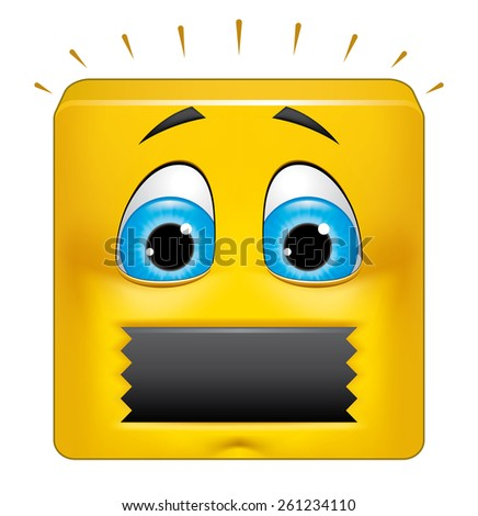 Square emoticon muted - stock photo
