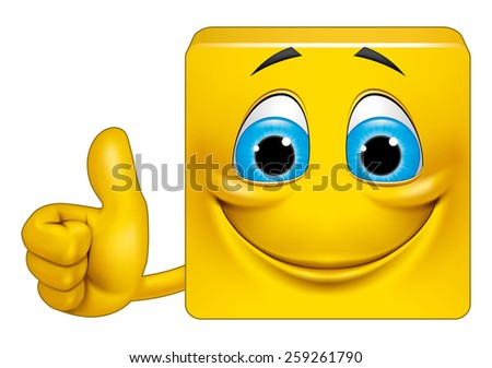 Square emoticon ok - stock photo