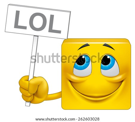 Square emoticon placcard - stock photo