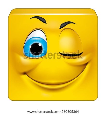 Square emoticon winking - stock photo