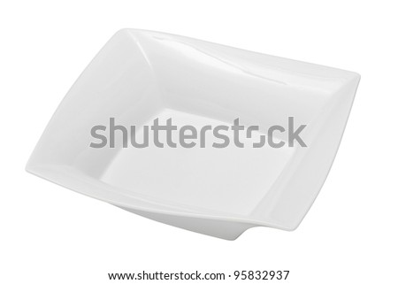 square empty plate for soup, isolated