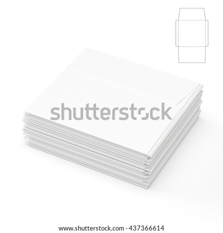 Square Envelope with Blueprint Template 3D Rendering